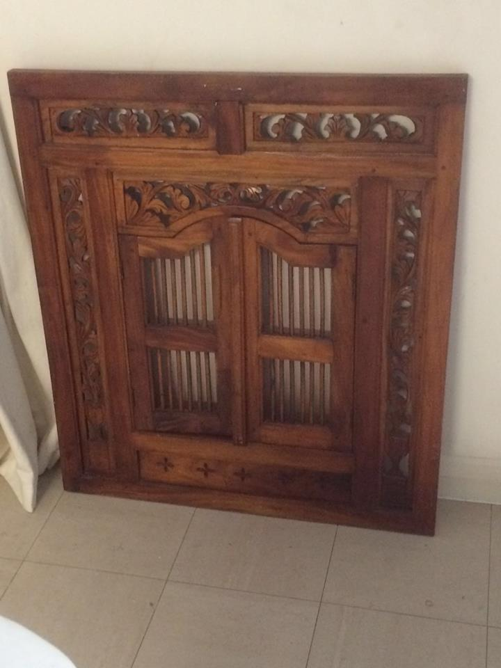 Balinese Indonesian Hand Carved Teak Wood Window Shutter