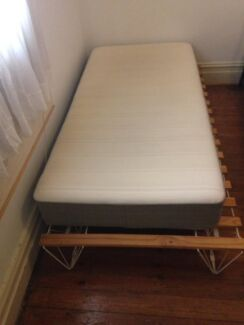 Single bed, mattress and frame