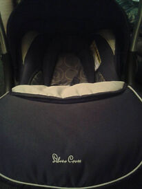 as new silver cross ventura plus car seat dark grey and green with hood and cover