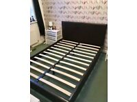 Leather effect double bed frame