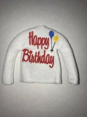 "Happy Birthday Elf Sweater Elf Clothes 12"" Doll Sweater Barbie on the Shelf"