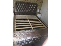 Cursh velvet chesterfield king size bed with otman box