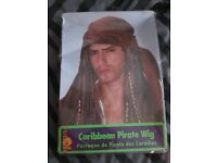 CARIBBEAN PIRATE FANCY DRESS WIG WITH BANDANA PARTY OR STAG DO