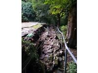Collapsed garden wall