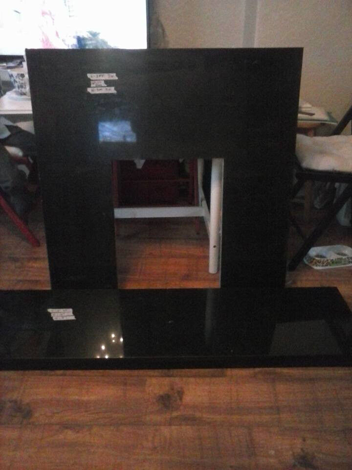 Fireplace Back Panel and Hearth Set in Black Granite
