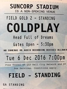 2x Coldplay Gold GA Standing Tickets (Suncorp 6th Dec) Gowrie Tuggeranong Preview
