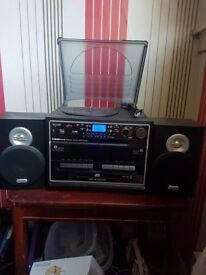 Steepletone stereo system with record deck 5 in 1 music system.