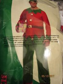 MENS CHRISTMAS ELF FANCY DRESS OUTFIT SIZE M/L GREAT FOR A PARTY