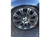 """bmw 5x120 18"""" alloys m3 style 4 good tyres not 17 19 3 series e46m"""
