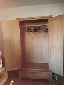 Large wooden wardrobe and bottom draw