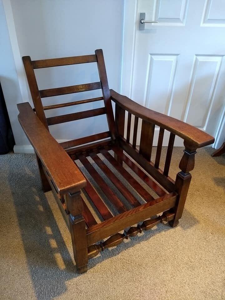 Antique Oak Reclining Planter's / Steamer Chair - Antique Oak Reclining Planter's / Steamer Chair In Penicuik