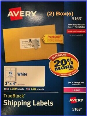 X2 Bx Avery Trueblock 5163 Laser 2x4 1200 White Rectangle Shipping Labels