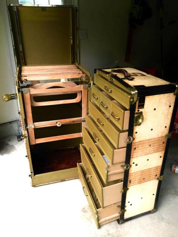 Antique Oshkosh The Chief Wardrobe Steamer Trunk Luggage Chest Vintage Complete!
