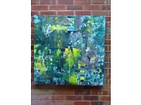 "Abstract wall art: Man in the forest ""An original hand painted canvas 90x90cm"