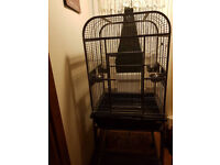 Large Metal Parrot Bird Cage On Stand Pet Aviary Bird Cage Excellent Condition