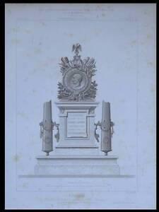 PUEBLA, TOMBEAU VERNHET DE LAUMIERE - 1872 - PLANCHE ARCHITECTURE - DUPRE MILLET - France - Thme: Architecture Période: XIXme et avant - France