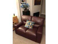 2 x Italian Leather Sofas (Dark Purple)