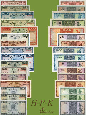 (Reproduktionen !)  Banknoten besetzter deutscher Gebiete Danzig 1924 - 1938