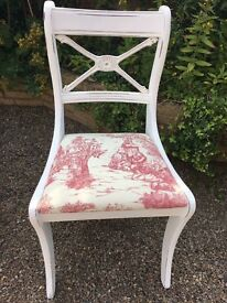 Painted and distressed ornate Chair in toile de jouy fabric