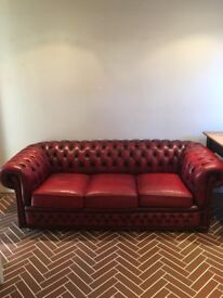 Red ox blood leather 3 seater sofa