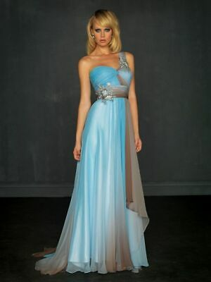 Blue Brown Prom Dress (Allure A319 Nights Out Sky Blue Brown Prom Dress Ombre Size 12 *Please)