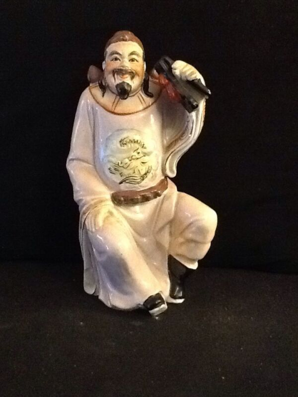 Vintage Hand painted Porcelain Statue Chinese Figurine Man with Percussion Music