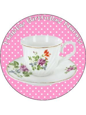 Tea Cup Saucer pink personalised wafer or Icing edible Round Cake topper