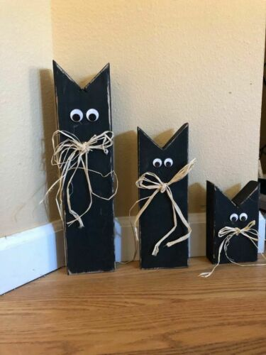 "Set of 3 Wooden Black Cat Halloween Decorations-Rustic/Primitive Look-14"" -5"""