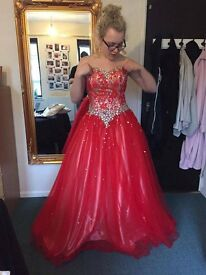 Beautiful red ball gown/ prom dress. Custom made for size 14. Worn for 2 hours
