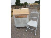 solid oak french script writing bureau and chair