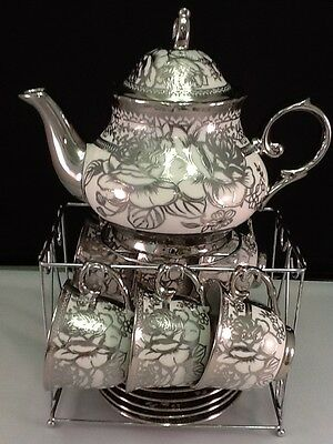 13pc Chinese Tea Sets - Tea Pot & 6 Cups & Saucers with Rack...Silver tone.