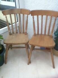 Pine Kitchen Chairs pair