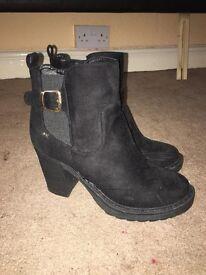 Black block heel ankle heel suede boots brand new