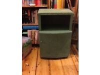 Wicker Aqua coloured bedside locker / unit / table / storage Lloyd loom style - in need of some TLC