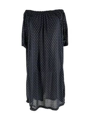 H&M Women's Navy Short Sleeve Off-the-Shoulder Sheer Swing Dress Size Large