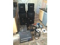 PA SYSTEM WITH 5 FOLDBACK SPEAKERS, MICS, LEADS AND LIGHTS