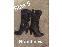 Brand new black boots size 5