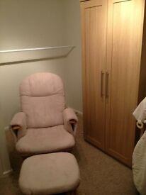 Beige reclining Nursing/Rocking chair