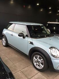 2013 MINI Hatch 1.6 One (Pepper pack) 3dr. Ice Blue with full service history. MOT till Nov 2017
