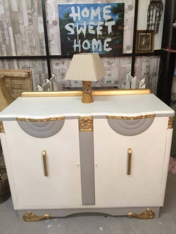 """Large sideboardin Bredbury, ManchesterGumtree - """"Summers Guaranteed Hand Made Furniture"""". Beautiful, vintage, hand made oak, solid, heavy, large sideboard, painted in chalk paint white and grey gold and clear wax for protection. Due to size and weigh collection only from Stockport SK1 dimension..."""