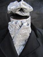 Ready Tie Grey & Silver Nouveau Design Brocade Dressage Riding Stock & Scrunchie - the riding stock market - ebay.co.uk