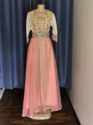 Royal Pink & white Moroccan Caftan Kaftan Abaya Maxi wedding bridal muslim dress