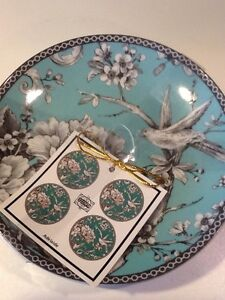 222Fifth Adelaide Turquoise New Round Set Of 4 Appetizer/ Dessert/ Bread Plates