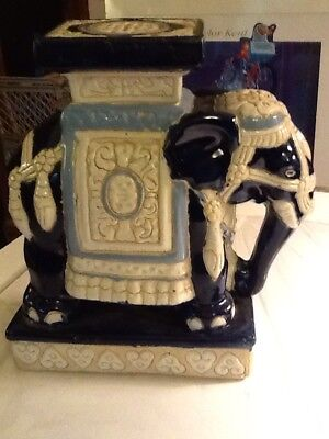 Charming Blue And White Small Ceramic Elephant Plant Stand Decor 9 1/2