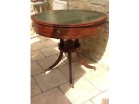 Leather Top Round Console Table