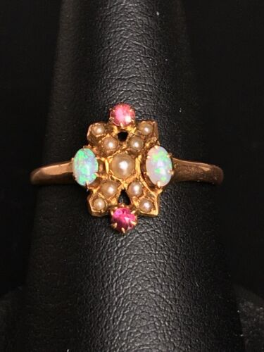 VICTORIAN ROSE GOLD OPAL,SEED PEARLS AND AMETHYST RING SIZE 7.25