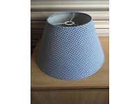 checked blue and white light shade,excellent condition