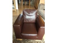 Childs Brown Faux Leather Arm Chair Excellent Condition