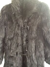 Ladies faux fur black goth coat