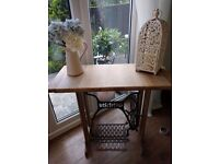 Console table made from old singer sewing machine solid oak top £165